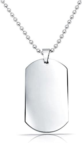 """24 or 30/"""" length 15 Blank Shiny Stainless Steel DOG TAGS with Bead Ball Chain"""