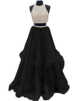 Inmagicdress 2017 Two Pieces Prom Dresses Oragnza Keyhole Back Women Evening Dress 06