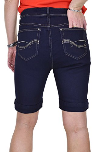 Indaco Jeans Con Shorts Risvolto Blu Maniche Donna Ice qwpBx0nw