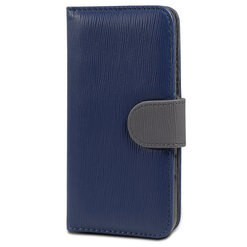 iPhone SE Case, GreatShield LOLLY Series Leather Wallet Case with Stand for Apple iPhone SE (Navy/Gris)