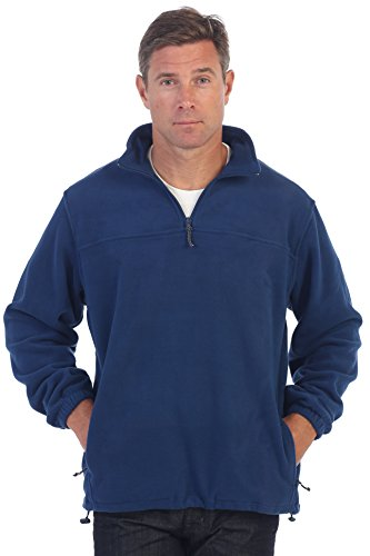 Gioberti Mens Half Zip Polar Fleece Jacket, Navy, X-Large