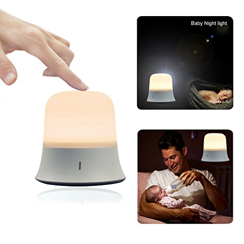 Portable LED Night Light with Sensor Touch Control Adjustable Brightness Color and Rechargeable Battery for Nursing Newborn Baby, Toddlers,Kids,Children (White)