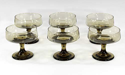 Tawny, Vintage Dessert Sherbet Dishes, Smoke Brown Glass, Pedestal, Footed, Set of 6 (Dessert Sherbet Dish)