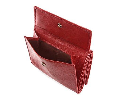 WITTCHEN Portafoglio, Dimensione: 12x9cm, Rosso, Materiale: Pelle di grano, Orizzontale, Collezione: Roma - 22-1-071-3