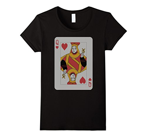 Queen Of Hearts Costume Images (Womens Queen Hearts T-Shirt Play Win Poker Party Player Costume  Large Black)