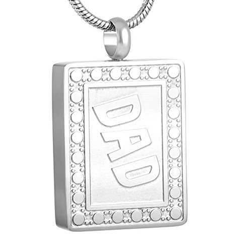 Stainless Steel Rectangle Cremation Urn Pendant Hold Human Ashes Keepsake Memorial Necklace For Dad