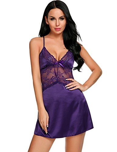 Pretty Lace Babydoll Nightwear Pajama Sexy Lingerie Sling Underwear for Sex Flirt (Slutty Maid Outfit)