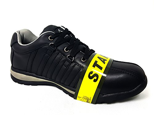 Mens Formadores Zapatos Botas de seguridad puntera de acero de trabajo tobillo de excursionista, piel sintética, SW-Grey/Black, 6 SW-Grey/Black