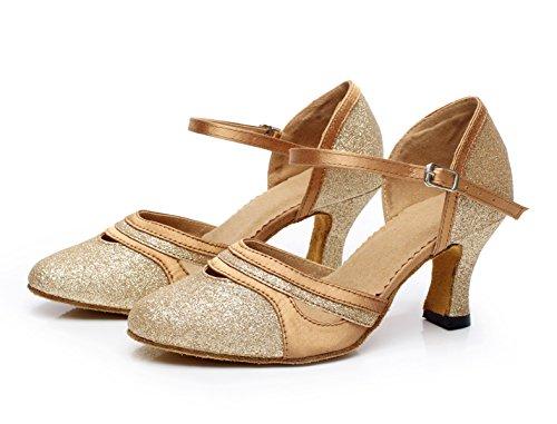 High Jazz Latin Our38 Tango Sandals Modern UK5 Tea Toe Shoes EU37 Samba Gold Shoes Women's Heels Round Dance Sequins Salsa heeled6cm JSHOE qxgSZg