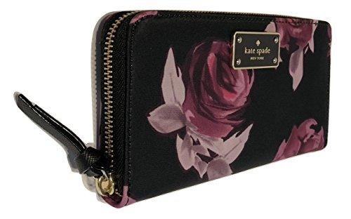 Kate Spade New York Wilson Road Neda Zip Around Wallet WLRU3329 (Rose Symphony Black)
