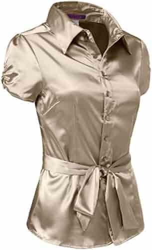10c487052a1 J. LOVNY Womens Light Weight Long Cuff Sleeve Button Down Satin Shirt S-3XL