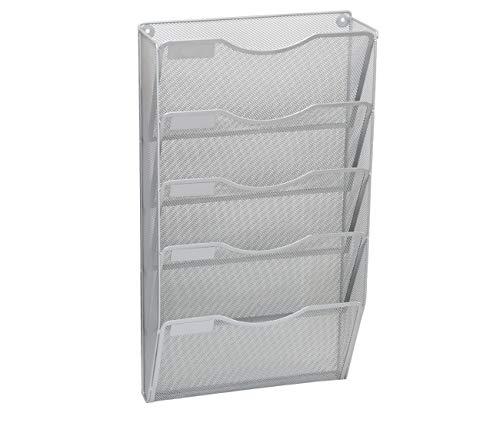 - EasyPAG Office 5 Pocket Wall File Hanging Organizer Holder Magazine Folder Rack,Silver