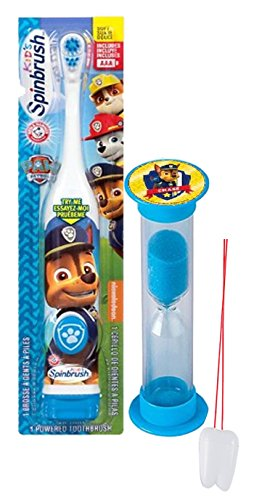 """Paw Patrol Chase Inspired 2pc Oral Hygiene Set! Includes Turbo Powered Spin Toothbrush & Police Pup Brushing Timer! Plus Bonus """"Remember To Brush"""" Visual Aid!"""