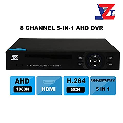 JZTEK 8ch 1080N Hybrid 5-in-1 AHD DVR (1080P NVR+1080N AHD+960H Analog +TVI+CVI) CCTV 8 channel Standalone dvr Quick QR Code Scan w/ Easy Remote View Home Security Surveillance Camera (Ipad 4 Back Housing)