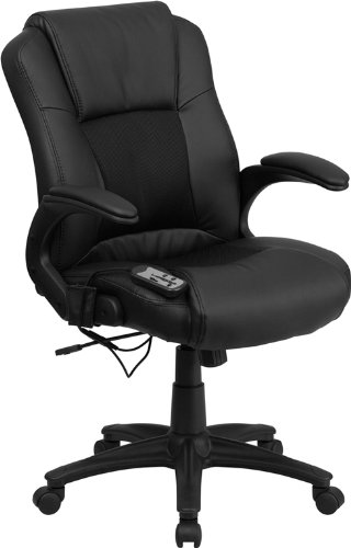 (Flash Furniture Massaging Black Leather Executive Swivel Chair with Arms)