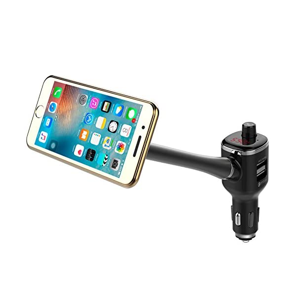 Bluetooth FM Transmitter, Leagway In Car FM Transmitter Radio Adapter With Dual USB Car Charger MP3 Player U Disk Port, 360°Rotating Car Phone Holder For IPhone 8 X 7 6 6S Plus, Samsung S5/S6/S7/S8