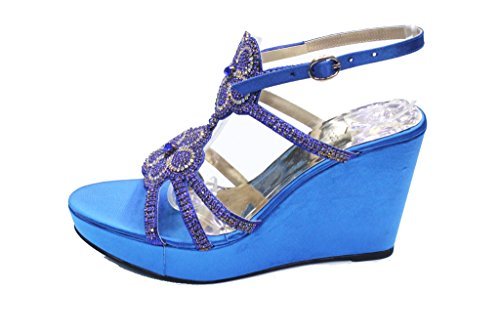 Wear & Walk UK - Sandalias de vestir para mujer R Blue