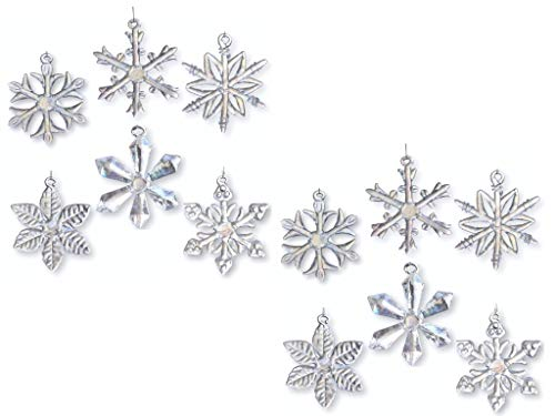 BANBERRY DESIGNS Glass Snowflake Ornaments - Set of 12 - Iridescent Snowflakes