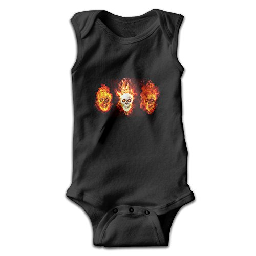 Sleeveless Skull Head Fire Baby Girls Boys Cute Onesies Bodysuit Romper Outfits (80s Outfits For Guys)