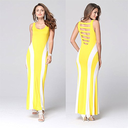 Dress Beach Backless Brillunt Slim Yellow Lady Maxi Casual Striped Long Sleeveless HTxxO6qwt