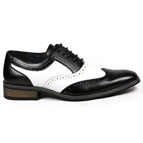 Men's Perforated up Tip Lace UV Tone Black Oxford White SIGNATURE Shoes Two Dress PA002 Wing anzAEq
