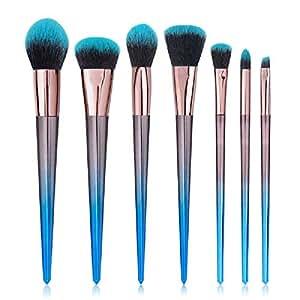 STELLAIRE CHERN Makeup Brush Set 7 Pcs Professional Synthetic Cosmetic Brushes, Foundation Blending Blush Powder Eye Shadow Make Up Brushes Kit - Blue Black