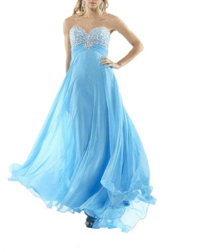 A Ausschnitt Kleidungen Blau Chiffon Bodenlang Dearta Herz Linie Aermellos Abendkleider Damen gE4qxq1wR