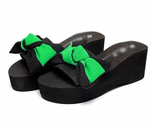 Usura Sandali Casual Spessore 36 Spesso Pantofole Fondo Verde Mano Di Antiscivolo Fatti Donne Fiori Estate Parola a Pantofole Di vpzqY