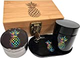 PINEAPPLE STASH BOX COMBO WITH LOCK & ROLLING TRAY - Combo Includes a matching 4 piece titanium grinder, smell proof stash jar, and rolling tray that fit neatly inside the Locking Stash Box.  Stash Box Combo details:  PREMIUM TITANIUM GRINDER: • ...