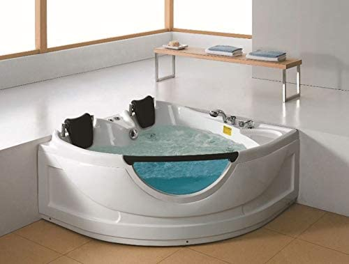 2 Person Luxury Massage Hydrotherapy Recessed Corner Bathtub Tub Whirlpool With Bluetooth Remote Control Inline Water Heater And 19 Total Jets