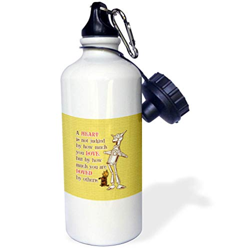 3dRose Russ Billington Designs- Wonderful Wizard of Oz - Tin Man and Toto- A Heart is Judged by How Much You are Loved - 21 oz Sports Water Bottle (wb_302297_1) -