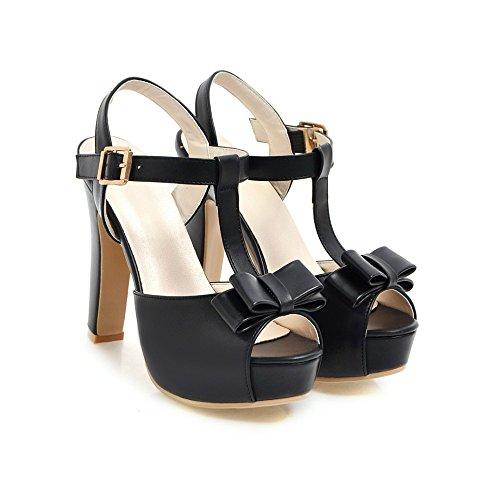 Chicas Bowknot Elegantes Black Alto Mujer Toe Peep Zapatos Tacón Sandalias Sandalias De con SnBdd6awUq