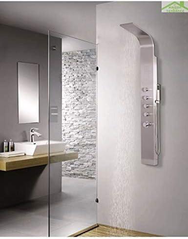 Columna de ducha hidromasaje Dine de acero inoxidable, 165 cm ...