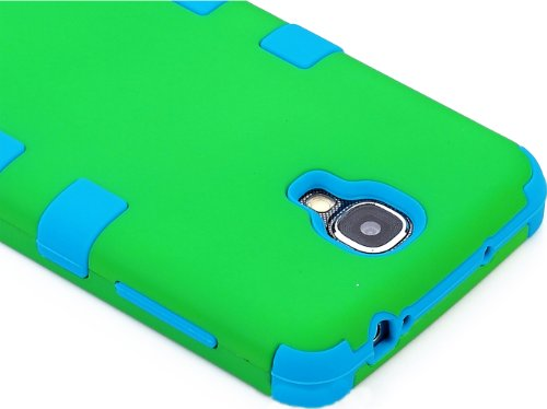 "myLife (TM) Sky Blue - Green Matte Design (3 Piece Hybrid) Hard and Soft Case for the Samsung Galaxy S4 ""Fits Models: I9500, I9505, SPH-L720, Galaxy S IV, SGH-I337, SCH-I545, SGH-M919, SCH-R970 and Galaxy S4 LTE-A Touch Phone"" (Fitted Front and Back Solid Cover Case + Internal Silicone Gel Rubberized Tough Armor Skin + Lifetime Warranty + Sealed Inside myLife Authorized Packaging) ""ADDITIONAL DETAILS: This three layer Galaxy S4 armor skin gel fit together case is made of grip easy smooth silicone and hardshell plates that slide in to your pocket easily yet won't slip out of your hand"""