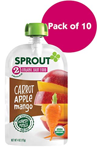 Sprout Organic Stage 2 Baby Food Pouches, Carrot Apple Mango, 4 Ounce (Pack of 10)