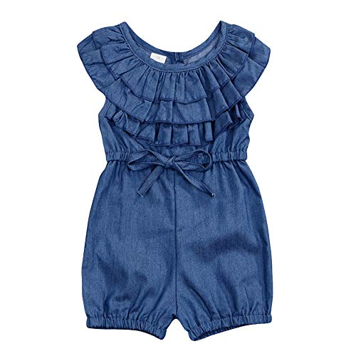 YOUNGER TREE Toddler Kids Baby Girls Rompers One Piece Denim Short Overalls Bow Ruffled Jumpsuit 1-5T (3-4T, Navy - Blue Baby Overall