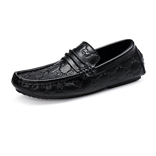 Driving echtes Mokassins Druck Vamp Cricket Herren Schuhe Loafers weiche Druck Leder Gummisohle 4dppq