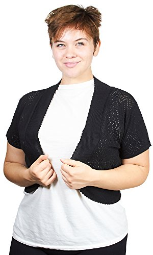 Knit Minded Womens Plus Size Fine Gauge Diamond Pattern Pointelle Shrug, Black, Size 2X by Knit Minded