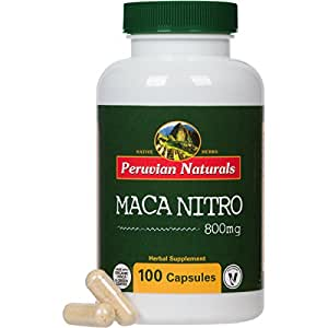 Maca Nitro 100 Capsules - Peruvian Naturals | certified-organic Maca and Green Coffee, organic caffeine pill and fat burner