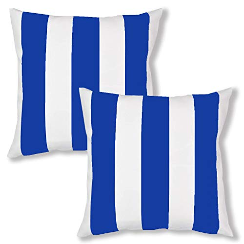ULOVE LOVE YOURSELF Royal Blue Stripe Decorative Throw Pillow Cover Case Soft Microfiber Pillow Cover Cushion Cover Home Decorative Cushion Covers 18×18 inches,2Pack(Royal Blue) ()
