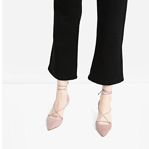 Pu Ck1 Chaussures 6028 Faible Talon Pointu Noir Femme Pink Chaussure De Sunny Chiffon Rose I5qd5