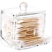 Acrylic cottonswab Storage Dispenser, Luxspire Clear Cotton Ball Swab Holder Cotton Bud Storage Box, Cosmetics Makeup…