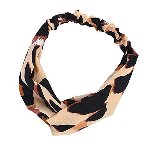 Boho Headbands for Women, QueenMM Womens Vintage Leopard Printed Criss Cross Elastic Head Wrap Twisted Cute Hairband