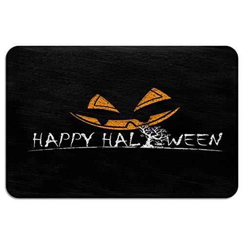 EZON-CH Doormats for Entrance Way Outdoors Indoor,Halloween Pumpkin Evil Face Expression All Weather Door Mats for High Traffic Areas Floor Mats with Shoe Scraper,18 x 30 -