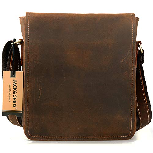 - Jack&Chris Men's Handmade Leather Messenger Bag Shoulder Bag, NM1865