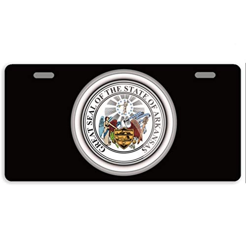 Eprocase License Plate Cover States of USA Seals Arkansas Automotive License Plate Novelty Car Tag Metal Decorative Tags Auto Sign Front License Plates 2 Holes 11.8 x 6.1 - State Arkansas Seal