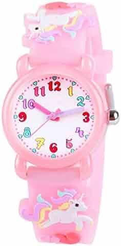 Venhoo Kids Watches 3D Cute Cartoon Waterproof Silicone Children Toddler Wrist Watch Time Teacher Birthday Unicorn Gifts for 3 4 5 6 7 8 Year Girls Little Child-Pink