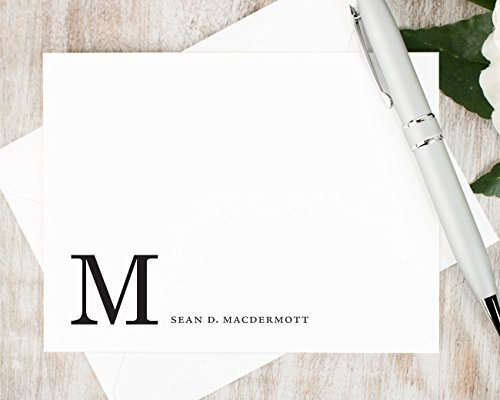 CORNER MONOGRAM - Personalized Flat Stationery Set - Professional Business Note Cards, Classic Traditional Thank You Cards, Stationary Notecards and Envelopes - Executive Stationery