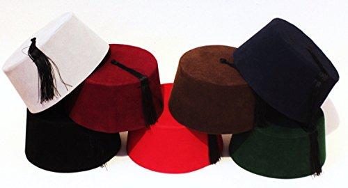 Velvet Fez Hat Shriner Turkish Casablanca Moroccan Cap Costume Accessory -