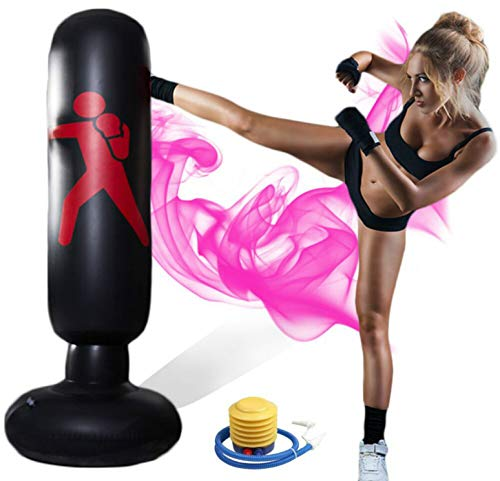 Inflateable Punching Bag for Adults with Stand and Kids Boxing Bag, Equipped with Air Pumps,Ground Punching Bag 63 inch
